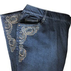 NEW Catherines Cotton Blend Embellished Jeans 26W